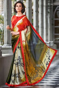 Red Multi Colored Printed Satin Georgette Saree
