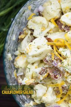 Cheddar Bacon Cauliflower Salad! This is a great low carb side dish for potlucks and barbecues.