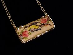 Broken china jewelry necklace antique bird of paradise with roses made from antique china plate
