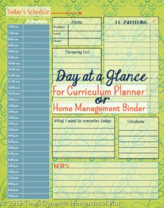 I have a new Day at a Glance form up. You can use it in your Homeschool Planner, Home Management Binder or any paper planner.  #7stephomeschoolplanner #ihsnet #curriculumplanner