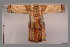 Theater Robe for Actor, 18th century  Culture: China  Medium: Patterned silks, satin embroidered in silks, gold-wrapped silks applique on satin