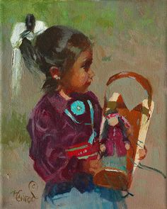 Little Navajo Dolls by Bonnie Conrad, Oil, 10 x 8 Native American Quotes, Native American Artists, Native American Indians, Native Americans, American Indian Art, American Traditional, Southwestern Art, Native Art, Navajo