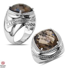 Ebay NissoniJewelry presents - Smokey Quartz Fashion Ring in Sterling Silver 925    Model Number:FR8064-SISMQ    http://www.ebay.com/itm/Smokey-Quartz-Fashion-Ring-in-Sterling-Silver-925/321857632902