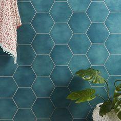Hexagon Tile Backsplash, Hex Tile, Hexagon Tiles, Bathroom Floor Tiles, Bathroom Wall, Wall Tiles, Tile Floor, Bathroom Interior, Small Bathroom