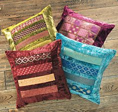 Produced on a fairtrade basis this handstitched patchwork cushion with velvet trim adds an eye-catching design to your home furnishings Please note