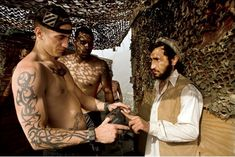 """A U.S. Army 3rd infantry division soldier (as can be seen on his hat) has the """"infidel tattoo"""" inked on his chest, clearly not bothered with showing it around. Bush Jr, Valley Of Death, Shock And Awe, Military News, Best Documentaries, Pop Culture References, British American, Islamic World, United States Army"""
