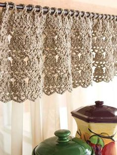 Feather-Stitch Valance A lacy, old-fashioned stitch pattern adds contemporary style with a touch of vintage charm to this very pretty window topper that's versatile enough for any room. This e-pattern was originally published in Easy-Living Crochet. Crochet Curtain Pattern, Crochet Curtains, Curtain Patterns, Lace Curtains, Curtain Ideas, Sewing Curtains, Window Curtains, Ikea Curtains, Curtains Living
