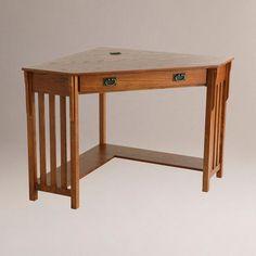 Oak Finish Duncan Corner Computer Desk