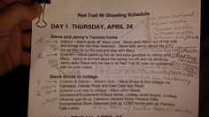 Part of the crazy 6 day shoot schedule for Red Trail 90