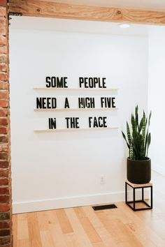Some people need a high five in the face. Letters & Ledges by Refined Design - 3 wood ledges and 279 letters. Funny quote wall art - Modern sign decor - custom sign - modern letterboard.