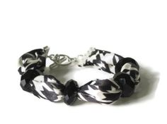 Black and White Houndstooth Fabric Bracelet with by thimbledoodle, $6.50