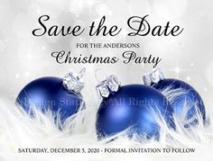 These elegant Christmas and holiday party invitation save the date postcards…