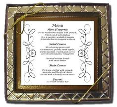 """Chocolate place card  50  $3.50--100  $3.25 ---200  $2.95 Each Escort Card measures 3.75"""" x 2.25"""" - Clear Plastic Stand Included"""
