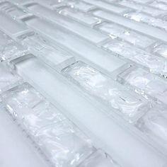 Linear Crackled Glass Mosaic Tile Ice for shower walls Small Bathroom, Master Bathroom, Bathroom Inspo, Bathroom Ideas, Bathrooms, Glitter Grout, Glitter Eyeshadow, Eyeshadow Palette, Room Tiles