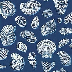 Waverly Fabric Sea Shell Ocean Blue Waters Edge Seashell Nautical ---treasury…