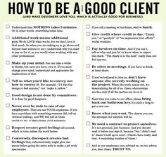 Checklist: How to be a good client