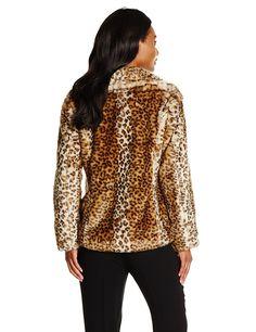 Via Spiga Women's Leopard Faux Fur Jacket at Amazon Women's Coats Shop