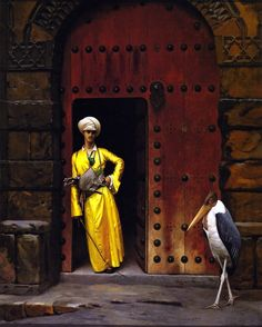 """Jean-Léon Gérôme: """"The Marabou"""", 1888/89, oil on canvas, Dimensions:Height: 61 cm (24.02 in.), Width: 59.5 cm (23.43 in.), Location:Arnot Art Museum - Elmira (NY)  (United States - Elmira, New York)"""