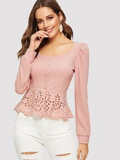 Online Shop SHEIN Button up Hollow out Square Collar Peplum Hem Puff Sleeve Blouse Women Tops and Blouses Spring Elegant Slim Fit Top Peplum Blouse, Collar Blouse, Ruffle Blouse, Cream Blouse, Spring Shirts, Mode Outfits, Pink Fashion, Luxury Fashion, Types Of Sleeves