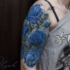 Amazing artist Olggah Grigoryeva @olggah_grigoryeva blue rose tattoo sleeve flashback starting ...