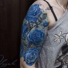 Amazing artist Olggah Grigoryeva @olggah_grigoryeva blue rose tattoo sleeve flashback starting ...