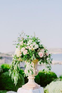 Wedding ceremony decorations | Wedding venue decoration | Wedding flowers | Blush wedding decor | Lebanese Wedding Athenian Riviera | Elegant Wedding | Luxury Weddings | Greek Island Weddings | Destination Wedding