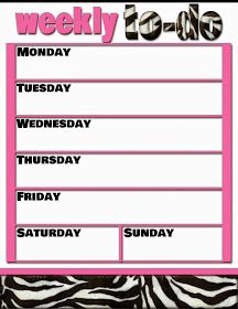 Fashionable Moms: FREE Printable: Weekly To-Do Zebra & Pink