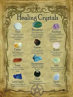 Healing Crystals for homemade Halloween Spell Book. Grimoire Halloween, Halloween Spell Book, Halloween Spells, Witchcraft Spells For Beginners, Healing Spells, Magick Spells, Green Witchcraft, Wicca Witchcraft, Wiccan Spell Book