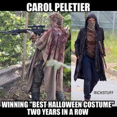 It's funny because  Carol dressed as one of the wolves is what I'm being for Halloween this year.