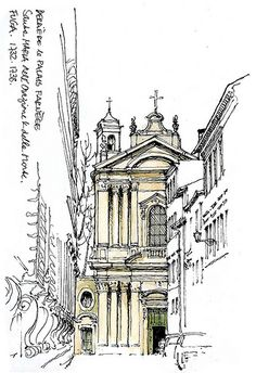 Rome, Santa Maria dellOrazione by gerard michel Illustration Sketches, Drawing Sketches, Drawing Ideas, Ant Drawing, Voyage Rome, Art Et Architecture, Modelos 3d, Hand Sketch, Urban Sketchers
