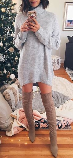 #winter #outfits gray longsleeve dress