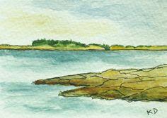 Maine Painting. Seascape. Pemaquid Point 4. Pen by kathleendaughan, $18.00
