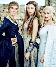 kit-harington:  Lena Headey as Cersei Lannister, Natalie Dormer as Margaery Tyrell and Emilia Clarke as Daenerys Targaryen for Entertainment Weekly.