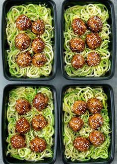 Asian glazed meatballs with zucchini noodles meal prep. Low carb and gluten free. The meatballs are easy and topped with a flavorful glaze. Zucchini Noodles, Healthy Dinner Recipes, Prepping, Cravings, Meal Prep, Zuchinni Noodles, Zucchini Pasta, Meal Planning