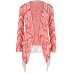 maurices Lightweight Coral Chevron Stripe Cardigan With Fringe ($7.50) ❤ liked on Polyvore featuring tops, cardigans, jackets, sweaters, outerwear, pink, pink top, fringe tops, red long sleeve top and light weight cardigan