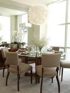 Beautiful Sarah Richardson dining room.  She's known for using fabric and color, but I love the neutrals in this room.