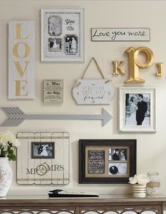 Gallery wall- mix of wood letters, framed photos, framed maps/art, wood and/or…
