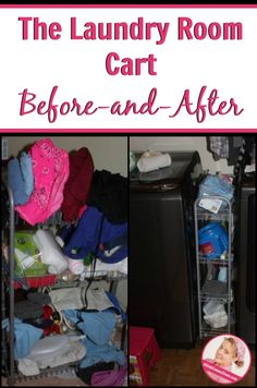 The Laundry Room Cart Before and After at ASlobComesClean.com