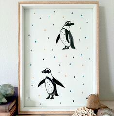 African penguins at Boulders Beach, Simontown / watercolour and ink on Fabriano paper / prints for sale at my Etsy shop / #artprintsforsale #watercolourart #printables #illustrationow #kidsroomartwork #kidswallartdecor #etsyseller #A4print #natureillustrationart #penguins #patternart #capetown #bohokids #nurserydecor #homedecorideas Art Prints For Home, Kids Prints, Prints For Sale, Artwork Prints, Pattern Art, Print Patterns, African Penguin, Watercolor And Ink, Kids Rooms