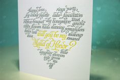 Letterpressed Will You Be My Bridesmaid Card. $5.50, via Etsy. so cute!