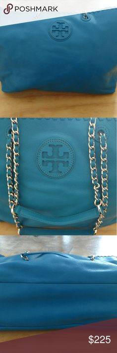 Tory Burch Pocketbook Like new Tory Burch Handbag. No noticeable signs of wear. Only carried maybe twice. Teal (blue) color with gold accents. Tory Burch Bags Shoulder Bags