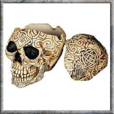 Celtic Skull Box Ash Tray Small. Resin Skull box with celtic detailing. Small detailed Gothic, Biker Pagan Skull box..