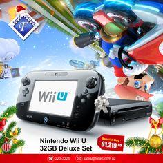 Nintendo Wii U 32GB Deluxe Set with DLC Wii U Bundle. This Wii U deluxe set comes with the Mario Kart 8 game pre-installed, plus two packs of Mario Kart 8 bonus DLC. #FultecSystems #TechtheHalls #ChristmasSale #Nintendo #WiiU #GameConsoles #MarioKart8