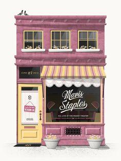2012 Mavis Staples - Austin Silkscreen Concert Poster by DKNG Building Illustration, Art Et Illustration, Staples Posters, Mavis Staples, Bg Design, Pics Art, Shop Fronts, Environment Design, Concert Posters