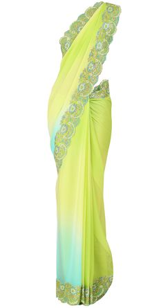 Lime green chiffon sari with green border and green blouse by SUNEET VARMA. Shop at https://www.perniaspopupshop.com/whats-new/suneet-varma-4186