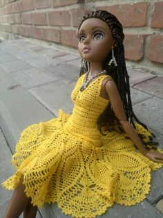 knitting dress for barbie At this time I wish to present you among the garments that I knit for Barbie dolls. Crochet Doll Dress, Crochet Barbie Clothes, Doll Clothes Barbie, Barbie Dress, Knitted Dolls, Barbie Clothes Patterns, Doll Dress Patterns, Clothing Patterns, Crochet Fashion