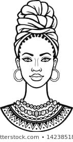 African beauty: animation portrait of the beautiful black woman in a turban. Vector illustration isolated on a white background. Print, poster, t-shirt, card. drawing animation Portfólio de fotos e imagens stock de Zvereva Yana Art Black Love, Black Girl Art, Beautiful Black Women, African Drawings, African Art Paintings, Africa Nature, Art Sketches, Art Drawings, Outline Drawings