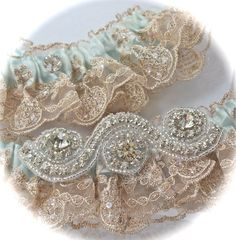 Wedding Garters Fantastically Beaded Regal Lace Wedding Garter Set with Dazzling Rhinestone Centerings