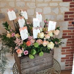 Rustic Apple Crate Table Plan made from Miss Piggy Roses, Peach Avalanche Roses, Juliet Roses, Peach Astilbe with Rose Gold name cards