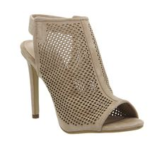 Office Teagan Perforated Slingback Shoe Boots Nude Suede - High Heels